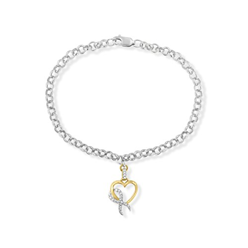 (10k Yellow Gold Heart Diamond Charm 1/10 ct. TDW with Sterling Silver Rolo Bracelet (H-I,I1-I2))