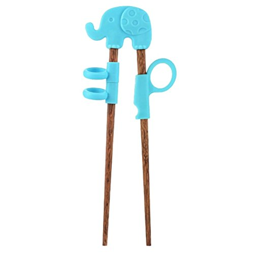 Myhouse Wenge Children's Learning Chopsticks Baby's Cartoon Training Chopsticks (Blue Elephant)