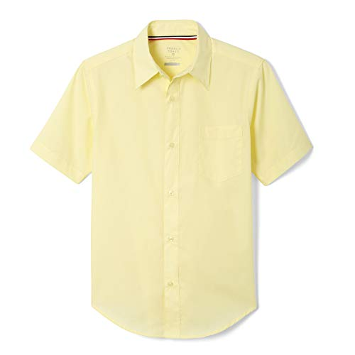 French Toast Little Boys' Short Sleeve Poplin Dress Shirt, Yellow, 7 -
