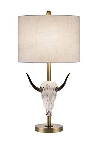 Catalina 20137-000 Moden Lámpara de mesa con cabeza de vaca y visualización de tambor de seda, 3 vías, color blanco...
