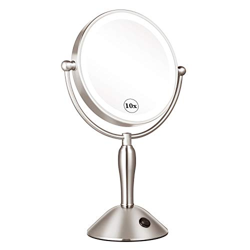 KEDSUM Rechargeable 8 Inch 1X 10X Lighted Magnifying Makeup Mirror with Lights, 3 Color Modes, Double Sided Vanity Mirror with Lights and Magnification, Cordless, Touch Button