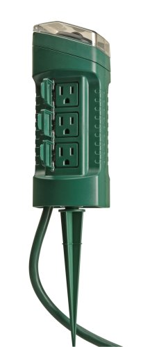Woods 13547WD Outdoor Yard Stake with Photocell and Built-In Timer, 6 Grounded Outlets, 6ft Cord, Green