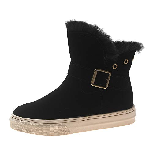 Women's Leopard High-top Boots, Casual Buckle-Strap Flat-with Sneaker Snow Boots Warm Faux Fur Lined Cotton Shoes (Black, 7 M US/Women) -