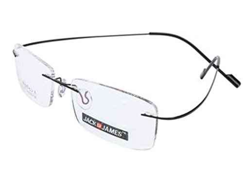 Color:Black # Hingeless Rimless β-Titanium Flexible Eyewear Eyeglasses Frame Plain Lens by - Frameless Oakley Glasses