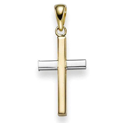 Pendentif croix 24 x 10,5 mm en or jaune 585 & or bicolore