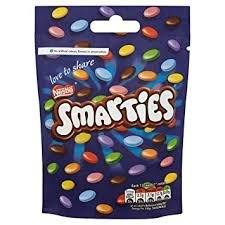 Original Smarties Chocolate Bag Pouch Imported From The UK England The Very Best Of Original British Chocolate Candy - With Candy Chocolate Smarties