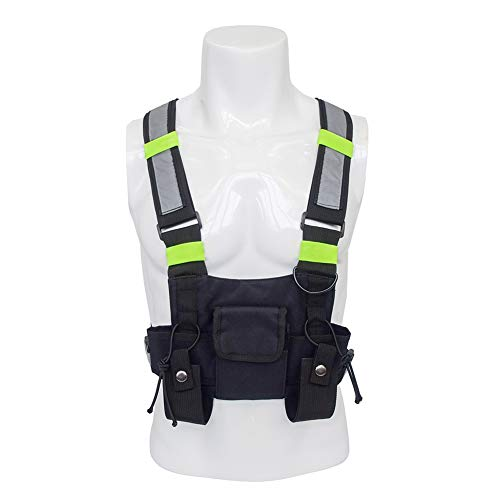 QEES Radio Chest Rig, Universal Outdoor Hands Free Radio Chest Harness, Heavy Duty Vest Rig Holster for Two-Way Radio/Survival Radio Accessories, Survival Gear for Men