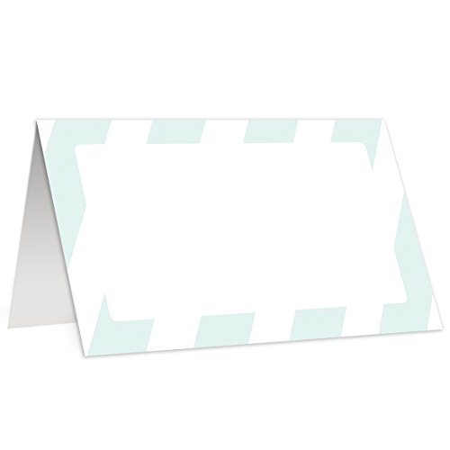 Mint Stripe Place Cards (50 Pack) Wedding Escort Placecard Green Blue Classic Table Decor Party Fill In Guest Name Paper Tented Folded Seat Tag Food Buffet Label Reception 3.5 x 2 Inches Digibuddha