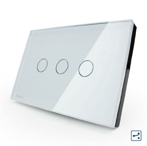 US/AU Standard, VL-C303S-81, White Crystal Glass Panel,3-gang 2-way Touch Control Light Switch with LED indicator