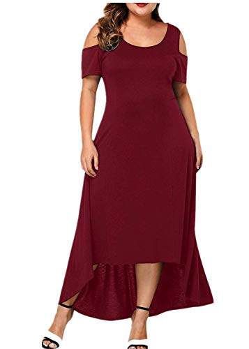 iPOGP Plus Size Dresses for Women Summer T Shirt Dress Solid Color Casual O-Neck Short Sleeve Dress (Red,XL) -