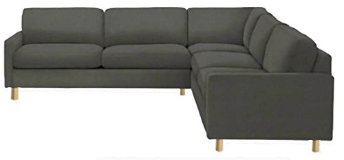 Corner Sofa - Easy Fit The Heavy Duty Cotton Karlstad Corner Sofa Cover (2+3/3+2) Replacement, Is Custom Made for Ikea Karlstad Sectional Slipcover Replacement (Cotton Dark Gray)