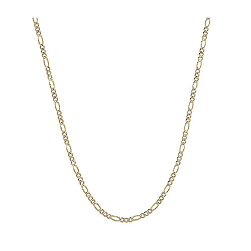MCS Jewelry 10K Two Tone Yellow & White Gold Solid Figaro Chain Necklace 4MM (Length: 20
