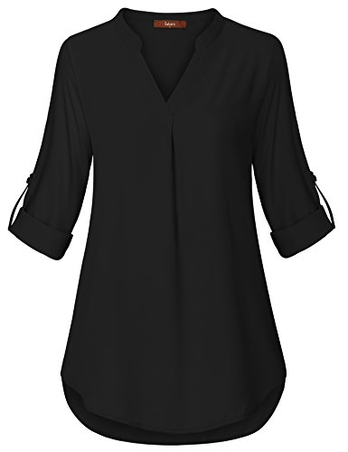 Gaharu Women Blouses for Work, Girls Henley V Neck Blouse Shirts Comfy Breathable Lightweight Pullover Pleated Chiffon Tops Black,XX-Large by Gaharu