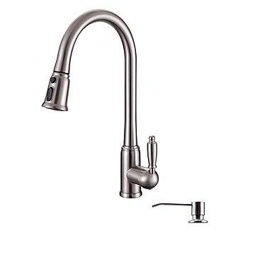 Wghz Contemporary Art Deco/Retro Modern Pull-Out/Pull-Down Vessel Widespread Handshower Included with Ceramic Valve Single Handle One Hole Kitchen Faucet (Plate Handshower Handle)
