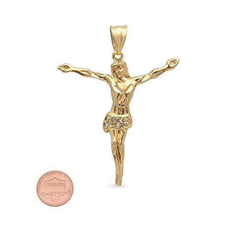 Épaisseur 14K plaqué or oxyde de zirconium Accent Jésus Pendentif Croix Charme