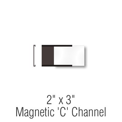 Magnetic ''C'' Channel Label Holders, 2''x3'',, Label Holder,Magnetic''C''Channel , 25 Holders / Pack