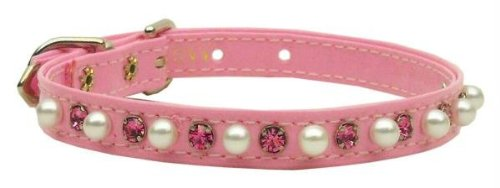- Mirage Pet Products Patent 3/8-Inch Pearl and Crystal Pet Collar, Size 12, Pink