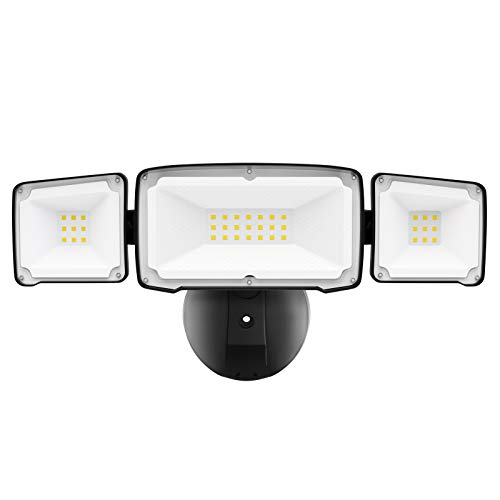 Amico 3500LM LED Security Lights Outdoor, 30W 5000K Super Bright Outdoor Flood Light, 3 Head Adjustable, IP65 Waterproof, ETL Certificated, Exterior Light for Garage, Garden, Patio, Porch & Stair