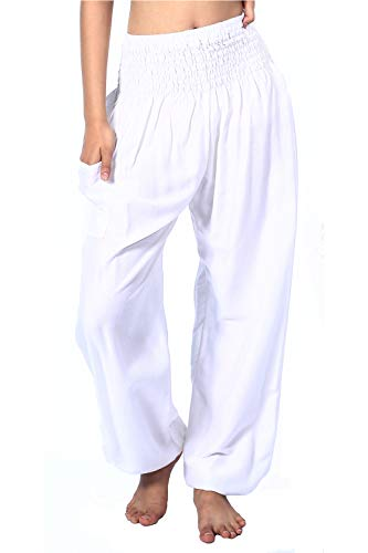 Yoga Meditation Pants (Boho Vib Women's Rayon Print Smocked Waist Boho Harem Yoga Pants (L/XL, Solid White))