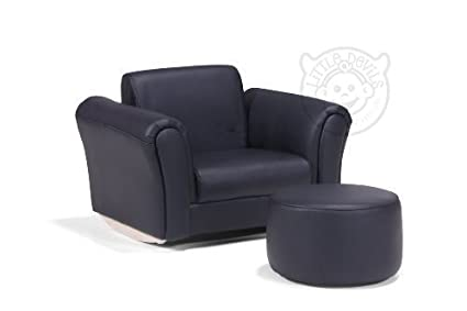 BLACK LAZYBONES LEATHER ROCKING Chair Armchair Kids Childrens With FREE  Footstool (GENUINE LEATHER): Amazon.co.uk: Kitchen U0026 Home