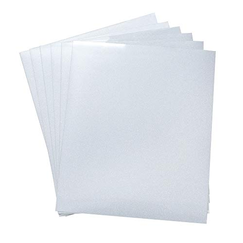 6 Pack White Glitter Heat Transfer Vinyl HTV for T-Shirt and Hoodie 12 X 9.8 Sheets White AB Color