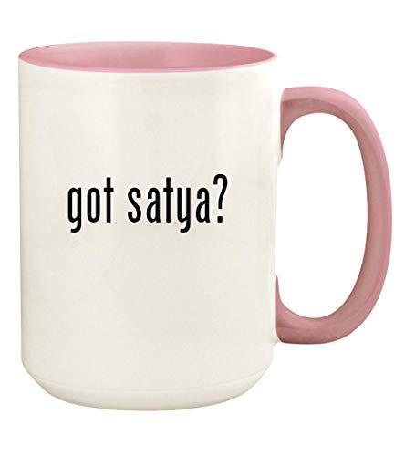 (got satya? - 15oz Ceramic Colored Handle and Inside Coffee Mug Cup, Pink)