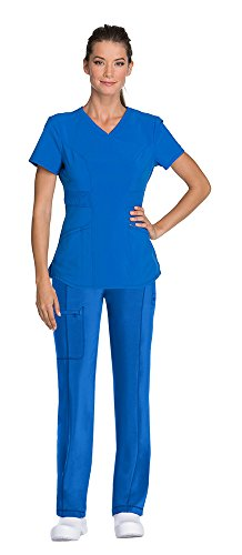 Cherokee Infinity Women's V-Neck Scrub Top with Certainty CK623A & Low Rise Drawstring Scrub Pants 1123A Medical Scrub Set (Royal – XX-Large/XXL Tall)