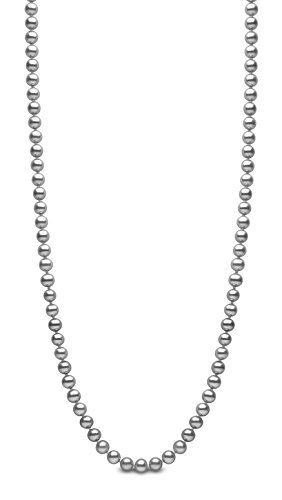 Kimura Pearls Femme  925  Argent|#Silver Rond  Perle d'eau douce chinoise Gris Perle