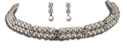 JewelryStylist.com Choker & Earring Set - Double Strand White Pearl, Silver and Crystal Choker Necklace & Matching Earring