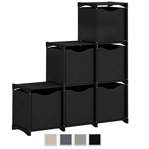Neaterize 6 Cube Organizer   Set of Storage Cubes Included   DIY Cubby Organizer Bins   Cube Shelves Ladder Storage Unit Shelf   Closet Organizer for Bedroom, Playroom, Livingroom, Office (Black) (Unit Black Storage)