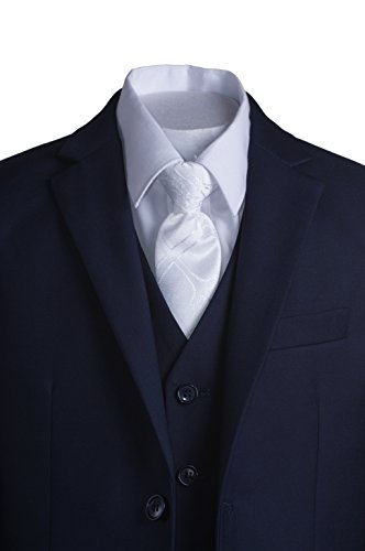 Boys Navy Blue Slim Fit Communion Suit with Vest & White Clergy Tie (10 Boys) by Tuxgear (Image #1)
