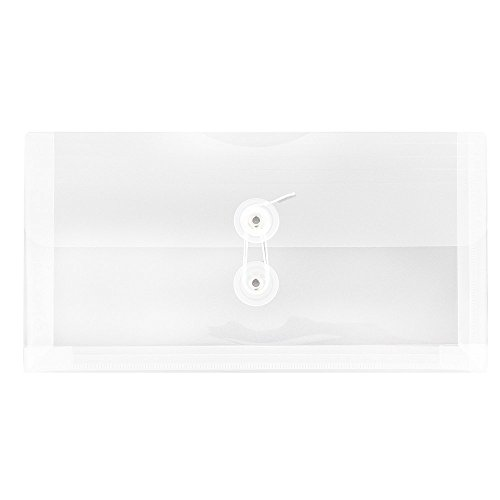 (JAM PAPER Plastic Envelopes with Button & String Tie Closure - #10 Business Booklet - 5 1/4 x 10 - Clear - 12/pack)
