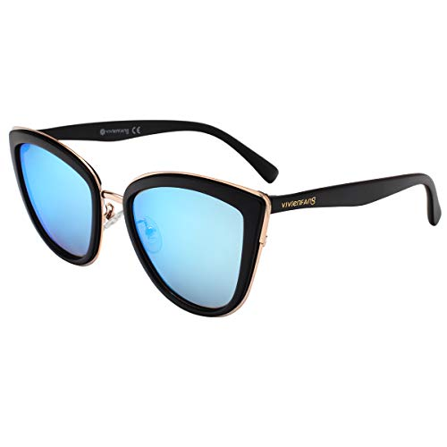 VIVIENFANG Color Mirrored Oversized Cateye Sunglasses Fashion Polarized Shades For Women P1891A ()