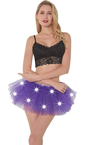 Women LED Tutu Light Up Neon Rainbow 5 Layered Party Dance Tulle Skirt -
