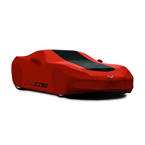Corvette Z06 Car Cover - Corvette Car Cover - Z06 & Flags Logo - Outdoor - Red w/Black Stripe : C7 Z06