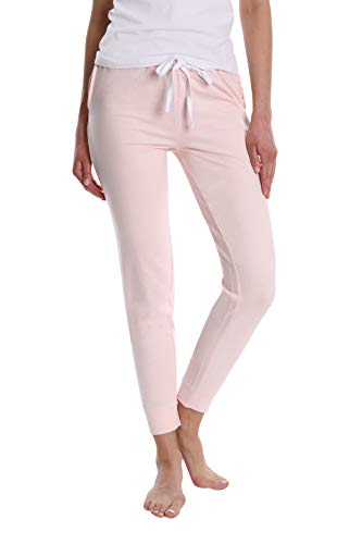 Women's Super Flattering Casual Jogger with Drawcord and Pockets - Pink Blush - Large