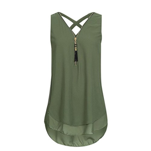 MENOW Women Loose Sleeveless Tank Top Cross Back Hem Layed Zipper V-Neck T Shirts Tops (XL, Green) - Tie Hem Strapless Dress