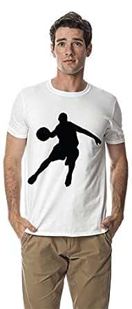 Basketball sports cotton crewneck tshirt, White L