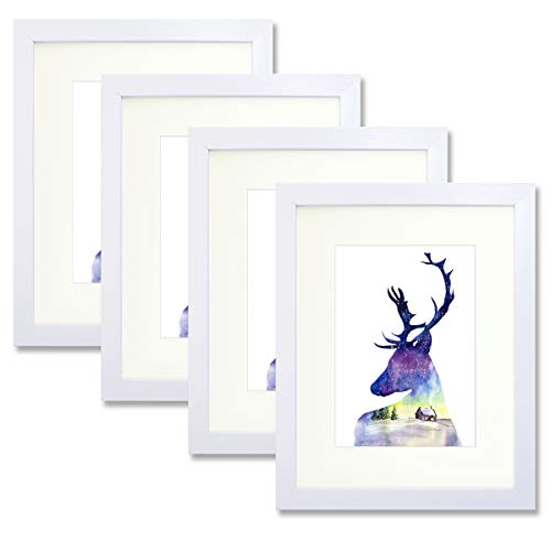 Trees&Forrest White 8x10 Picture Frame Set of 4 - Display 5x7 Family Pictures with Mat or 8x10 Without Mat - Decorative Poster Frame Set with Real Glass for Wall Hanging Tabletop Standing
