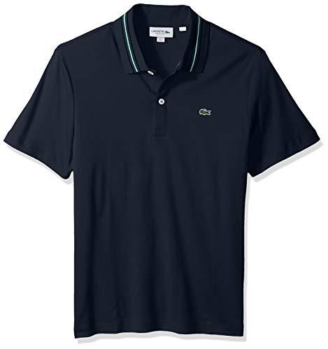 Lacoste Men's Short Sleeve PIMA REG FIT Contrast Collar Polo, Meridian Blue/Black/ACONI, 4X-Large