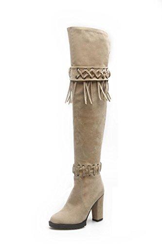 soirée mariage élégantes le soirée plate genou femmes chevalier bottes fête gland mode de talons hauts taille sur bottes grande beige hautes Kitzen cuisse bretelles bottes pointues twBqAtgx