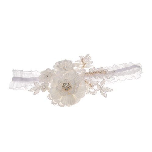 Topwedding Ivory Lace and Organza Bridal Garter With Flower