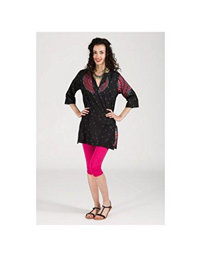Modeincoton - Mucho algodón de túnica con cuello en v manga 3/4 Modeincoton TUL295 Multicolor