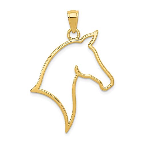 FB Jewels Solid 14K Yellow Gold Polished Cut Out Horse Head Pendant ()