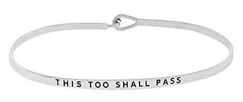 Glamour Girl Gifts Collection Inspirational This Too Shall Pass Engraved Positive Mantra Message Thin Brass Bangle Hook Bracelet (Silver Tone) ()