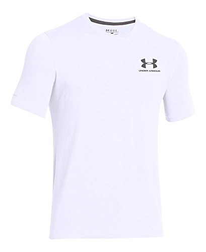Under Armour Men's Charged Cotton Left Chest Lockup T-Shirt, White /Graphite, XXXX-Large by Under Armour (Image #3)