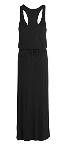 [Janisramone women puff ball toga maxi vest dress Black S/M] (Black Toga Dress)