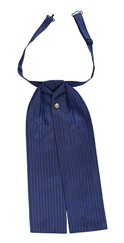 Historical Emporium Men's Satin Striped Puff Tie Royal Blue]()