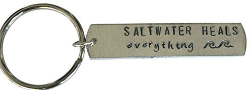 Saltwater Heals Everything- Aluminum key chain and ring-beach gifts, nautical, summer - Beach The Heal