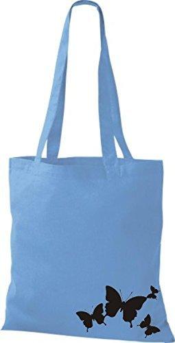 shirtinstyle Bolsa de tela bolsa de Algodón Divertido Animales Mariposa azul claro